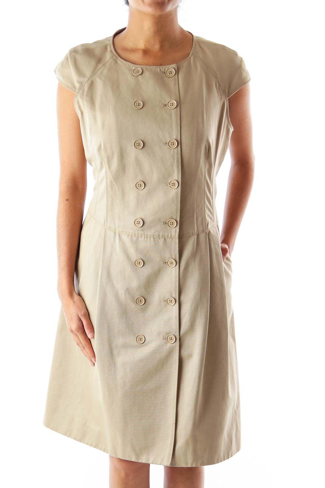 ab2487642f3 Like this Michael Kors dress? Shop this without using money! Trade. Shop.  Discover. #fashionexchange #prelovedfashion Khaki Button Up Dress by Michael  Kors