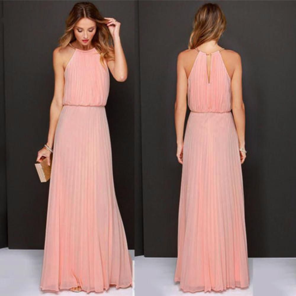 Cheap maxi dresses for weddings  Womens Formal Chiffon Sleeveless Prom Evening Evening Party Long