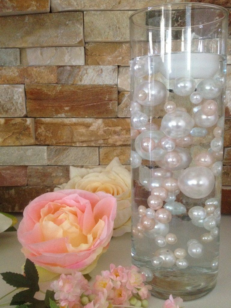 Diy floating pearl centerpiece vase filler pearls blush