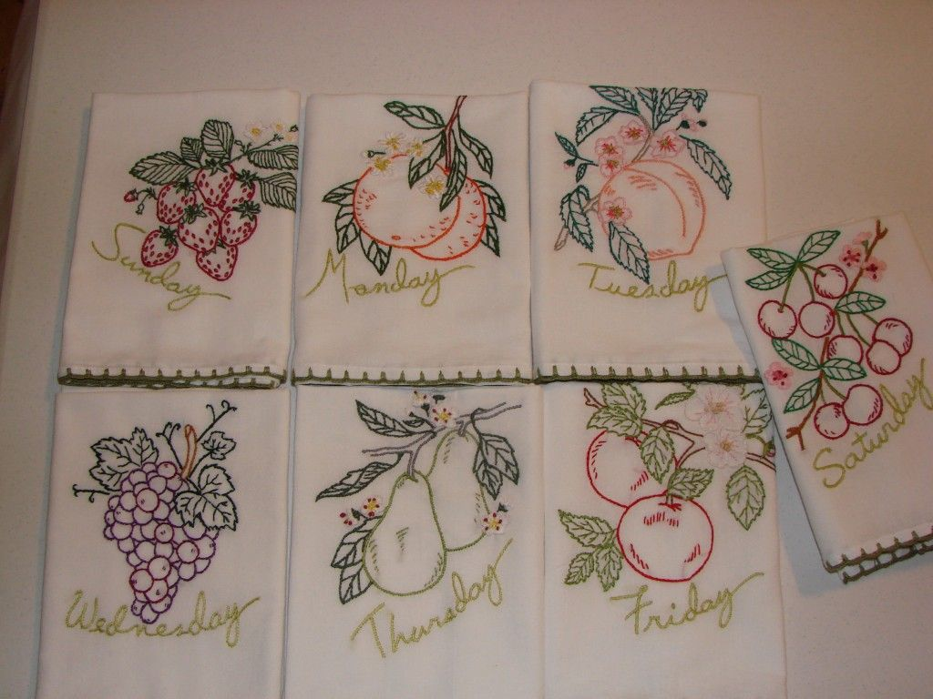 Embroidered quot tea towels made from purchased fabric