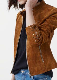 Veste longue croute de cuir femme