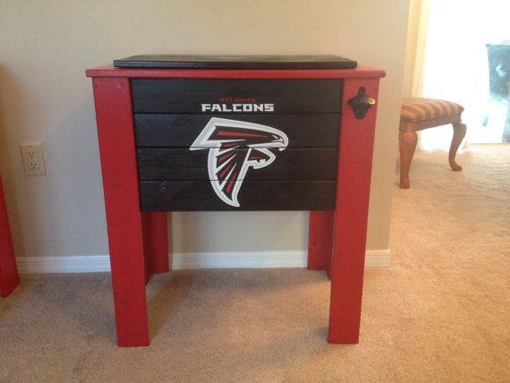 Atlanta Falcons Wood Cooler Stand Etsy Wood Cooler Atlanta Falcons Crafts Cooler Stand