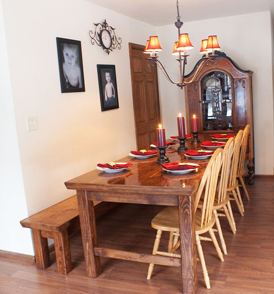 My narrow farmhouse table with matching bench Ana White