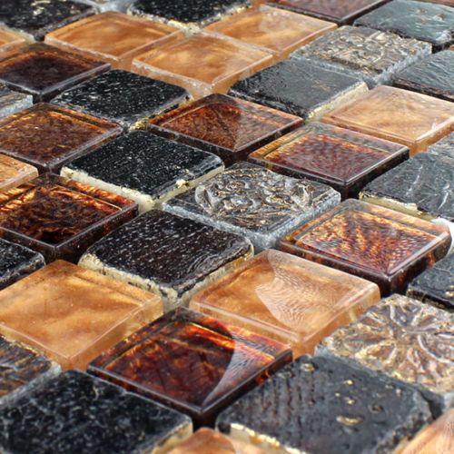 details zu glas marmor mosaik fliesen 23x23x8mm gold braun 1 matte. Black Bedroom Furniture Sets. Home Design Ideas