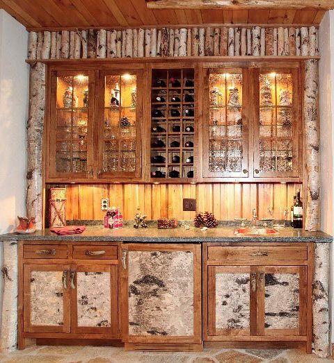 Image result for birch bark kitchen cabinet | Cabin ...