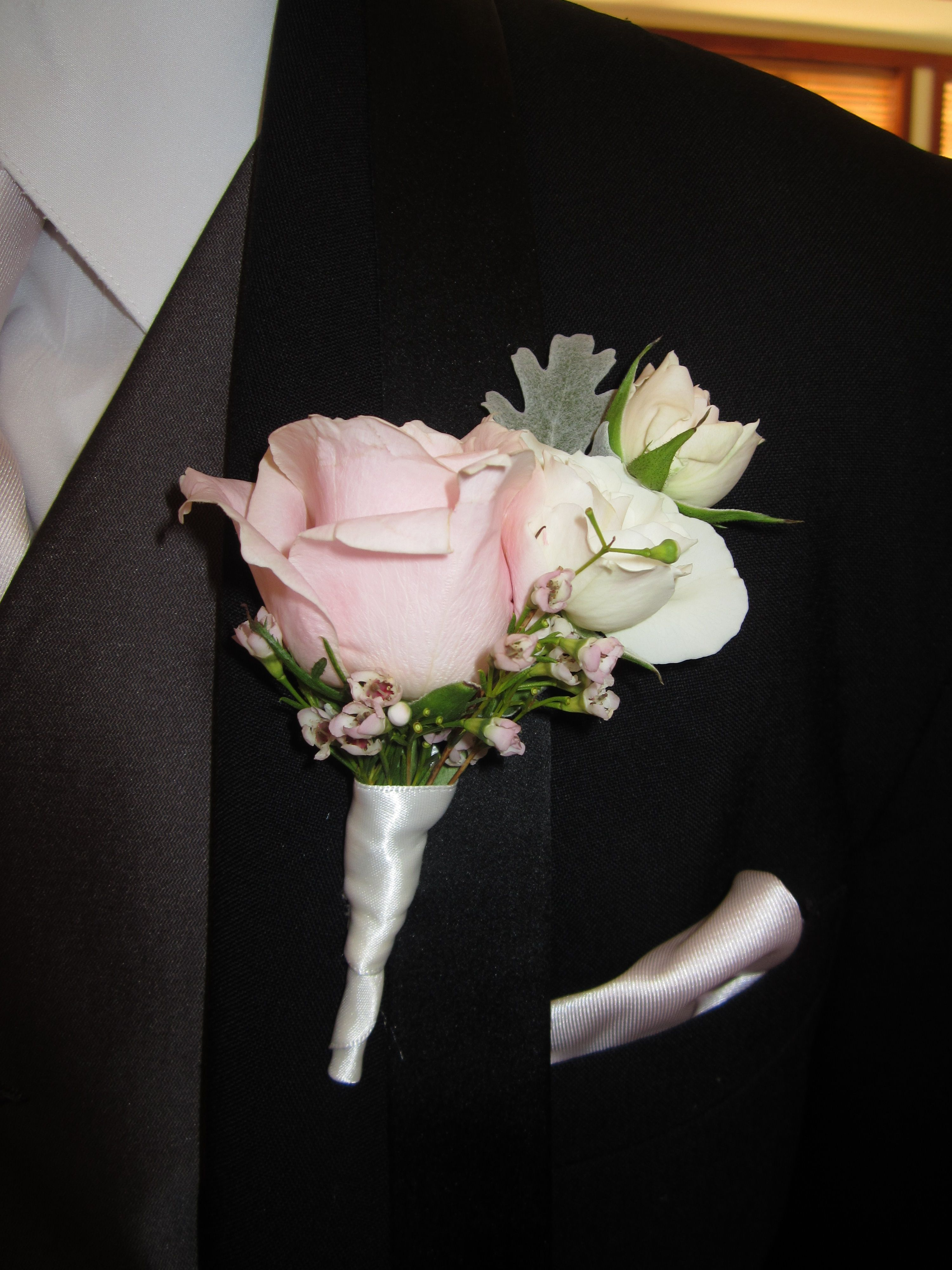 Boutonniere In Pink Sweet Avalanche Rose, And White Majolika Rose With Wax  Flower And Dusty