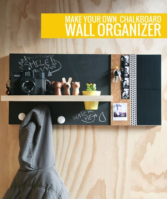 Lovely DIY Wall Hooks And Chalkboard Organizer | Home And Garden | Pinterest | Diy  Chalkboard, Coat Racks And Chalkboards