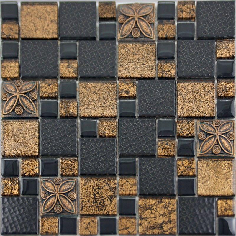 Black Porcelain Mosaic Tile Designs Gold Glass Tiles Bathroom Wall Endearing Kitchen Backsplash Tile Designs Pictures Design Ideas