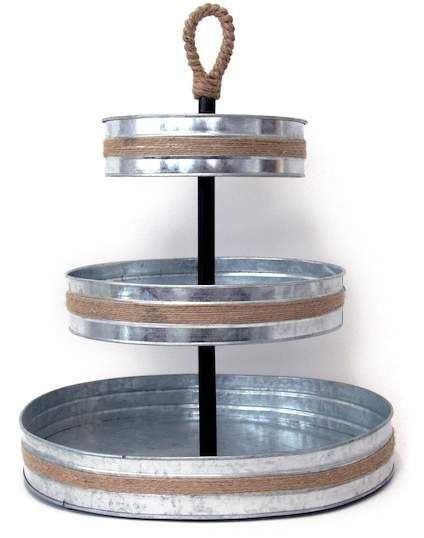 Mesa Roped Galvanized 3 Tier Serving Stand Tiered Serving Stand Galvanized Tray Serving Stand