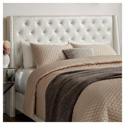 Rosalyn Crystal Tufted Wingback Headboard Queen Ivory - Inspire Q ...