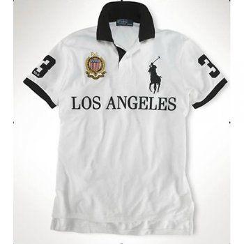 best website 5331d ca66b polo ralph lauren uomo usa los angeles citta logo in bianco ...
