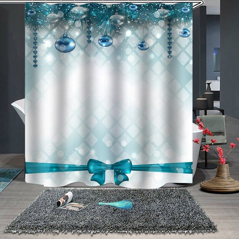 Waterproof Breathable Mildew Bathroom Partition Shower Curtain Christmas Print Pattern Bathroom Partitions Cheap Shower Curtains Christmas Shower Curtains