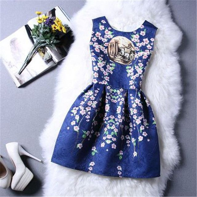 Sexy Women Round Neck A-Line Skater Print Dresses Ladies Boho Clothing Summer Style Beach Dress Plus Size WAIBO BEAR