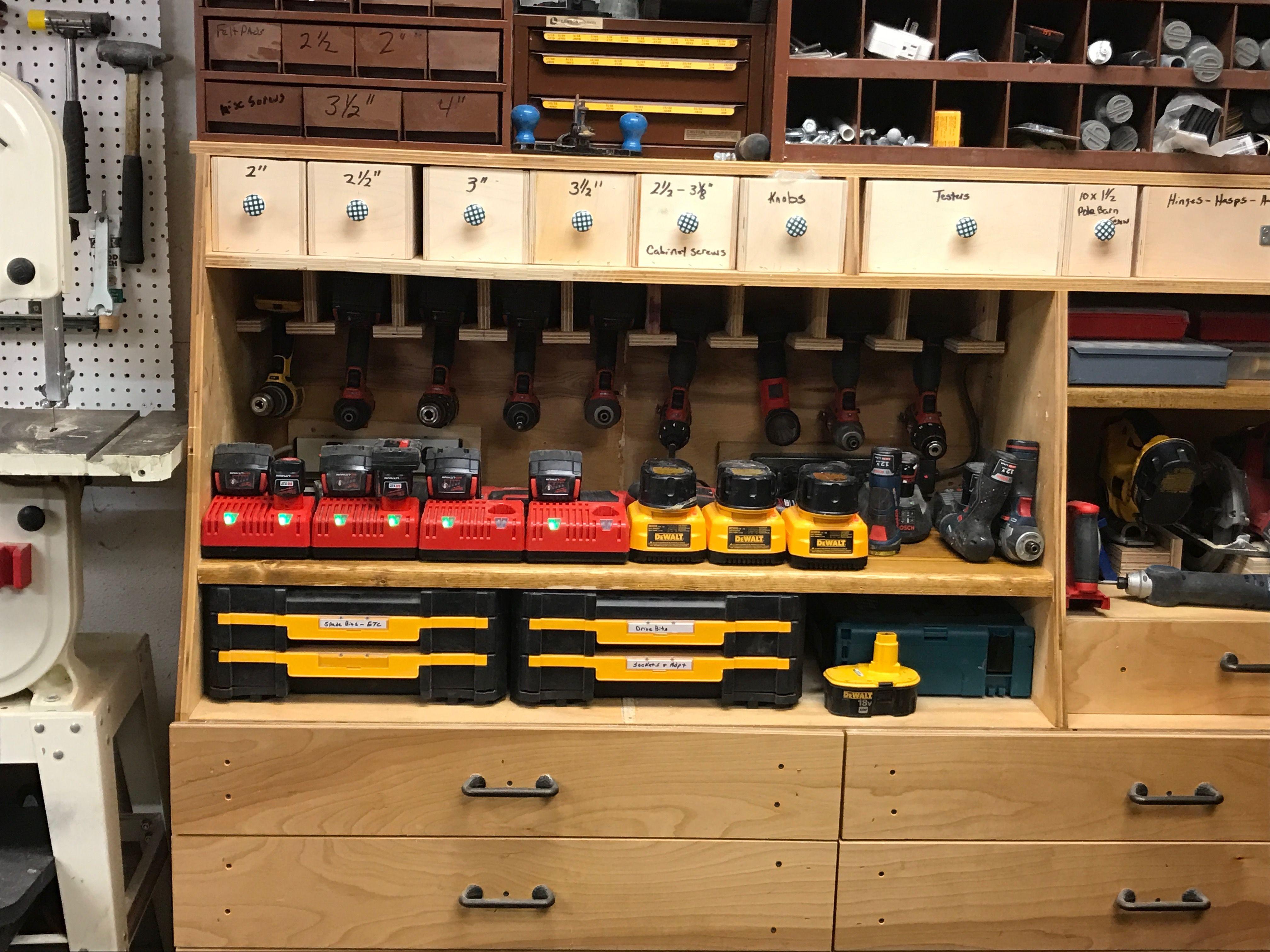 Cordless Tool Station Storage Ideas For Shop Pinterest