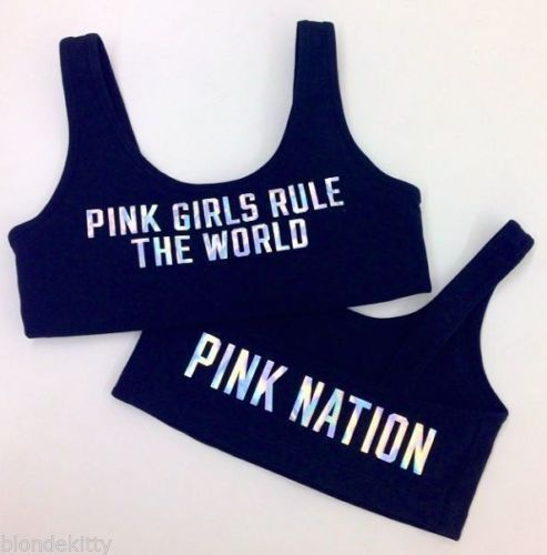 b82b298645 Victoria Secret Pink Nation  Girls Rule The World  FASHION SHOW Sports Bra  Small