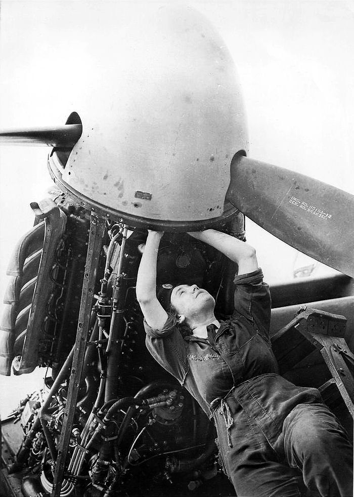 Mission4Today › ForumsPro › R & R Forums › Photo Galleries › WWII Aircraft Photo's › Britain and Commonwealth Women's Auxiliary Air Force Plane Mechanic Checking Wiring of a Mosquito Engine