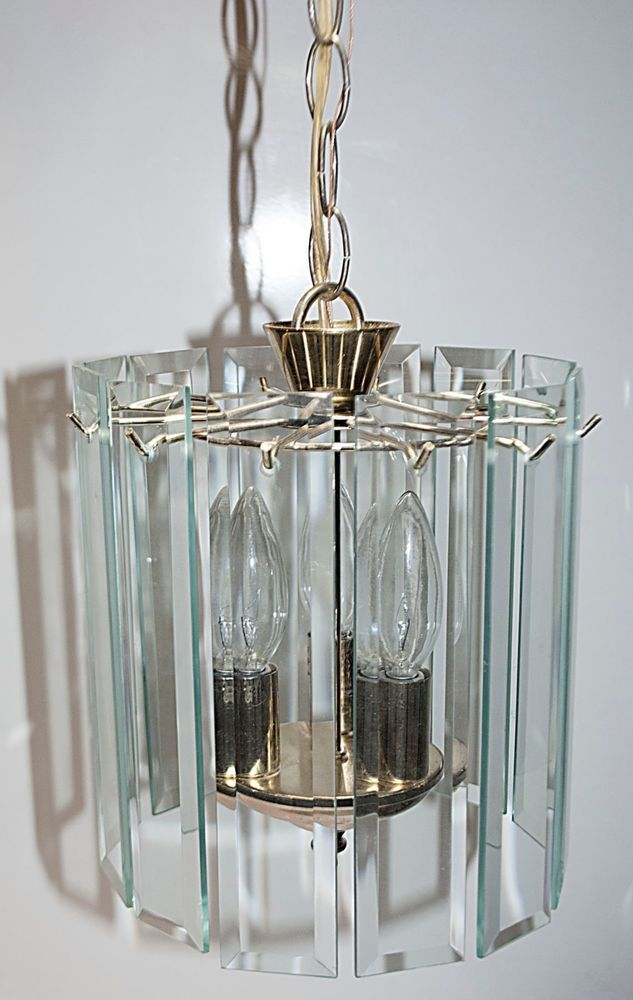 Mid Century Modern Beveled Glass Sheet Prism Rounded Chandelier