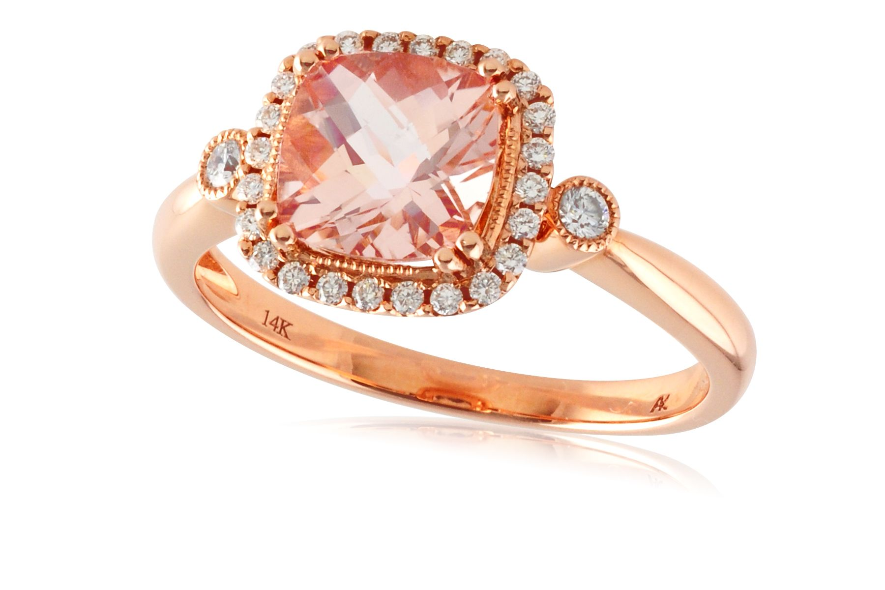 Beautiful Morganite and Diamond Ring set in 14kt Rose Gold by