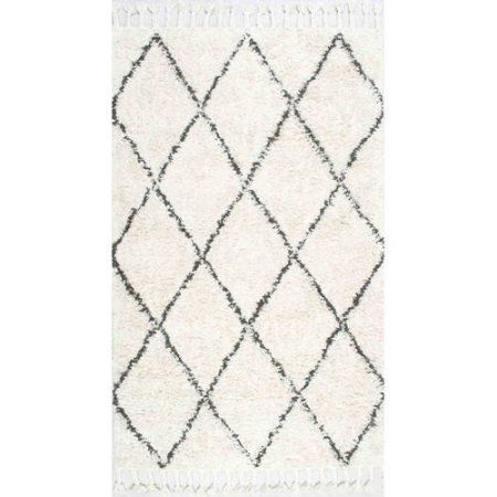 nuLOOM Hand-Knotted Fez Shag Area Rug or Runner, White