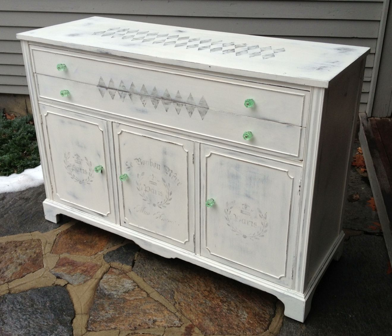 image stencils furniture painting. Chalk Painted Vintage Sideboard With French Stencils Image Furniture Painting