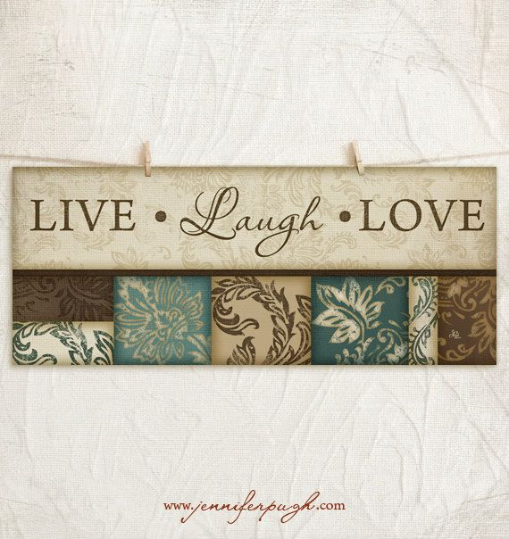 Live Laugh Love 8x18 Art Print Inspirational Wall Decor Family Values Decorative Leaf Border Teal Tan Brown On Etsy 10 00