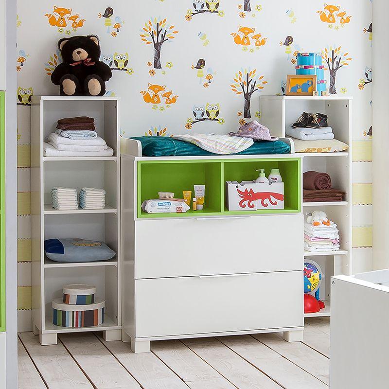 Commode bébé blanche et verte moderne DIEGO Meubles chambre bébé
