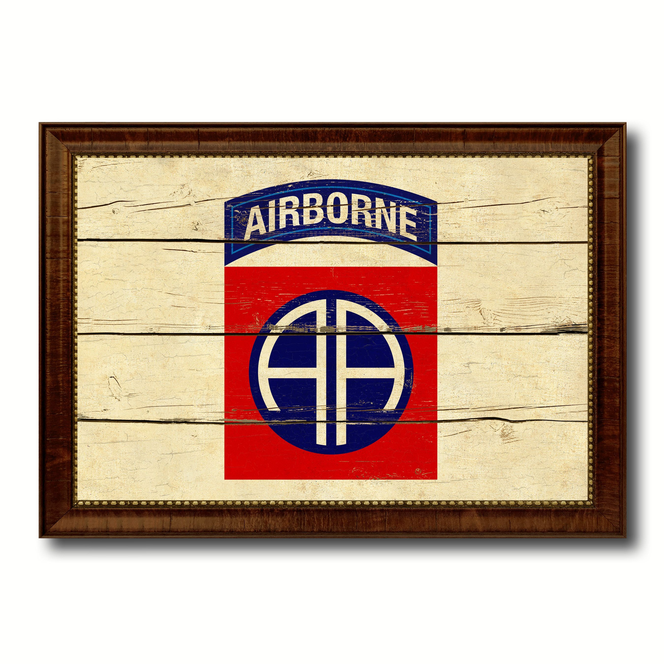 Us army 82nd airborne military flag vintage canvas print with us army 82nd airborne military flag vintage canvas print with brown picture frame gifts ideas home jeuxipadfo Images