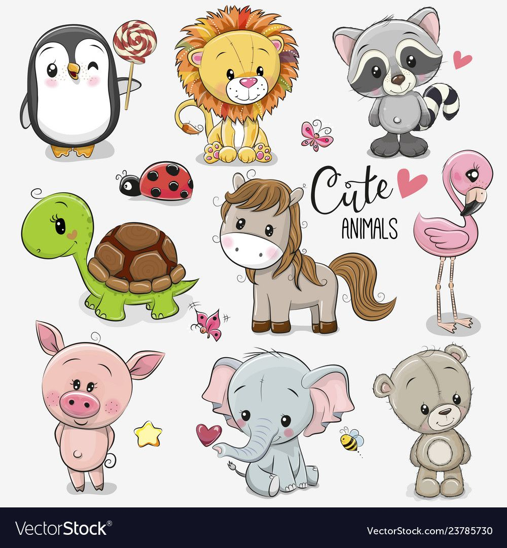 Set Cartoon Animals On White Background Vector Image On Cute