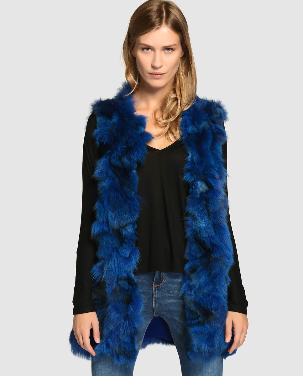 Chaleco de mujer El Corte Inglés con pelo de zorro en azul ... dff4a8fa8d14
