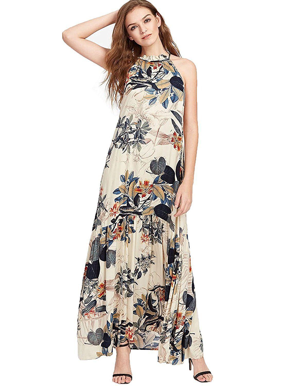 e36dc3d2e7e Floerns Women s Boho Loose Swing Summer Floral Maxi Dress at Amazon Women s  Clothing store