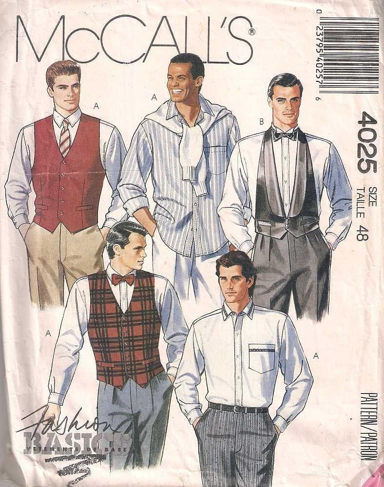 McCalls 4025 men\'s Sewing pattern, dressmaking pattern, men\'s shirt ...