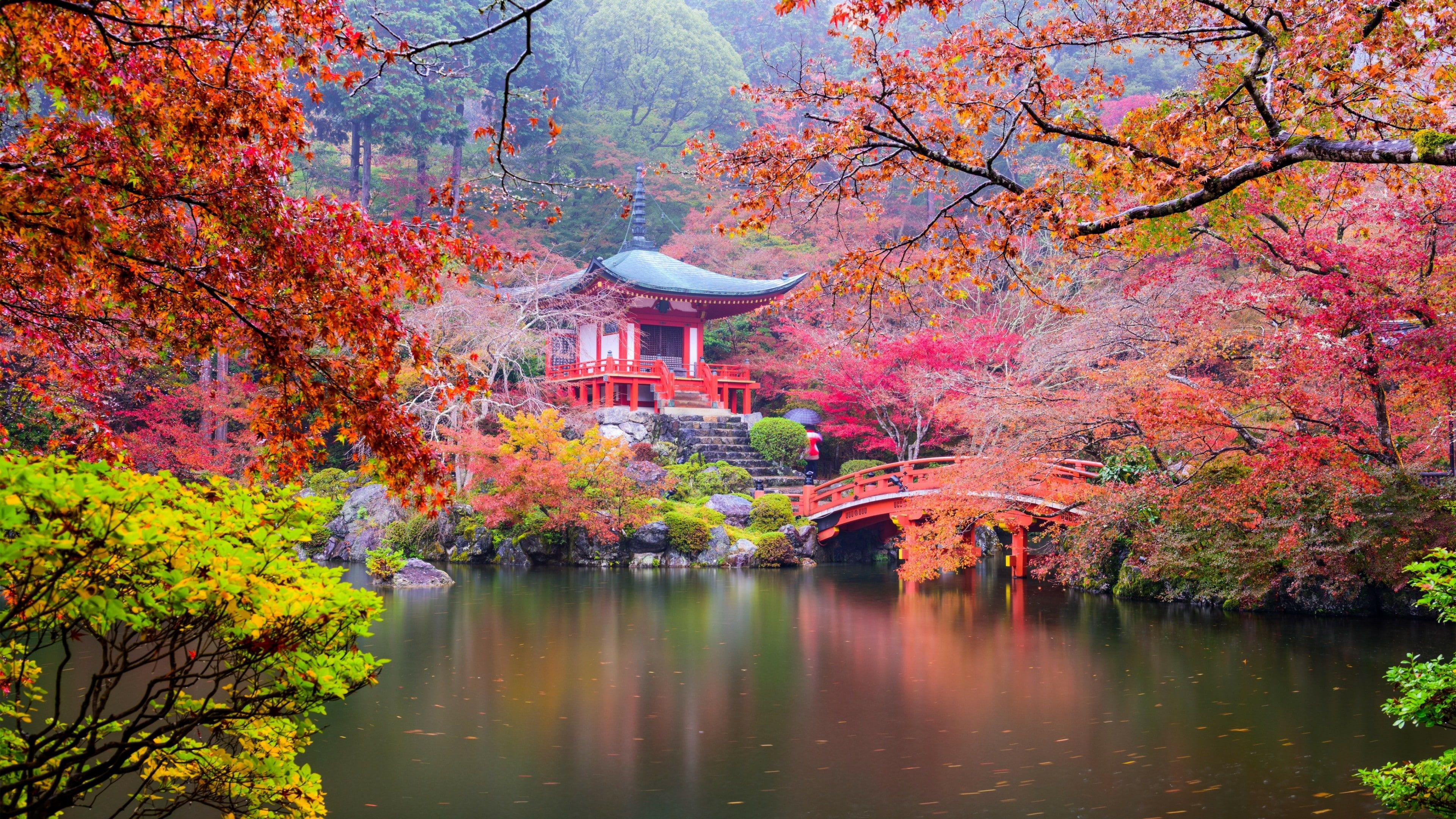 Buddhism Buddhist Temple Daigo Ji Japan Kyoto Branch Pond Sky Maple Tree Reflection Maple Leaf Plant In 2020 Nature Wallpaper Sunset Wallpaper Japanese Nature