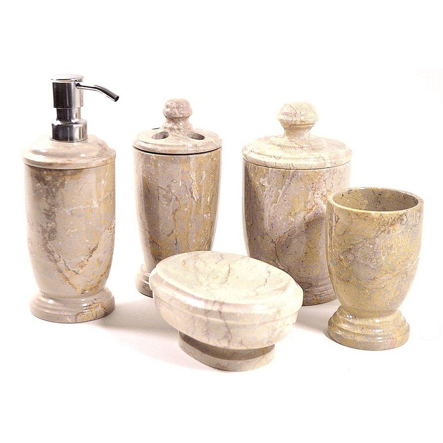 Atlantic Sahara Marble 5-Piece Bathroom Accessory Set | Master Bath ...
