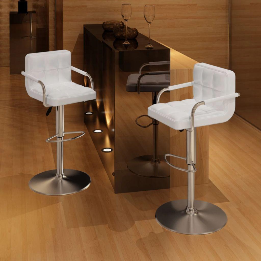 Barhocker - Barstühle 2er Set Weiß Kunstleder - Drehstühle Tresenhocker Küchenhocker Tresenstuhl Bistrohocker