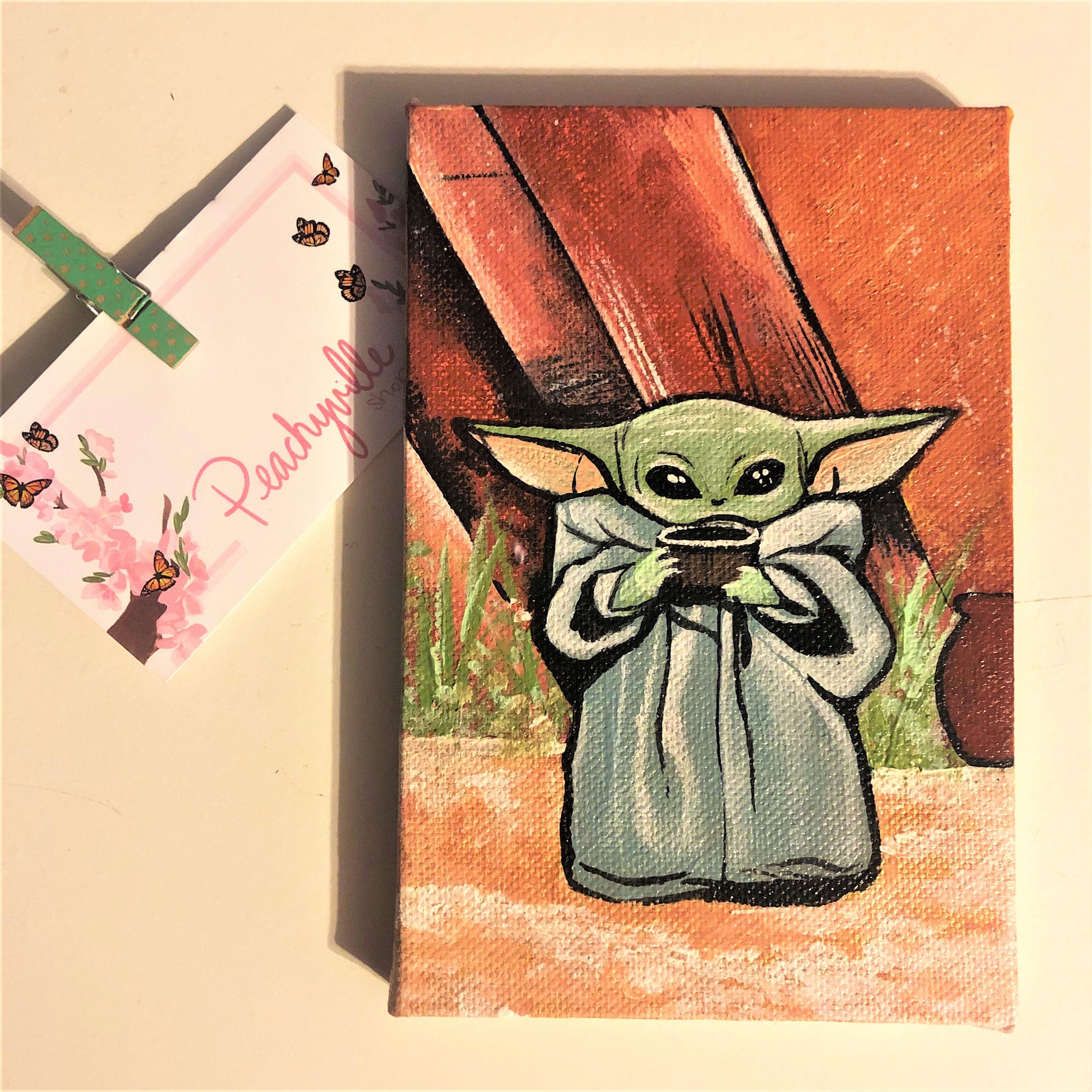 Baby Yoda Painting Disney Art Star Wars Art Drawings Art Cute Canvas Paintings