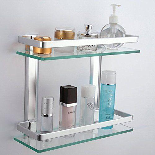 Bathroom 2 Tier Glass Shelf W Rail Aluminum Tempered Shower Shelving