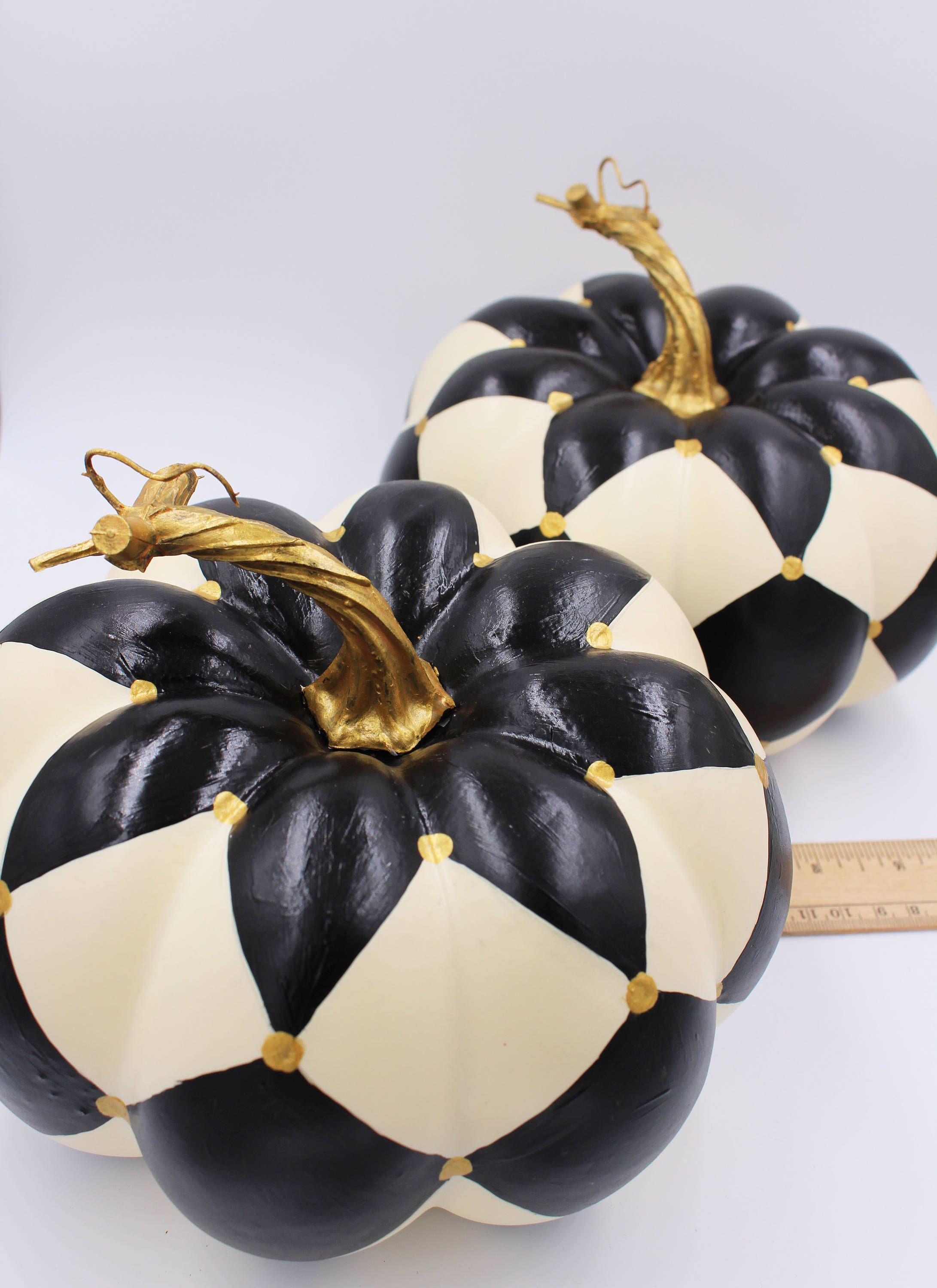 Black and white ivory harlequin painted pumpkin artificial