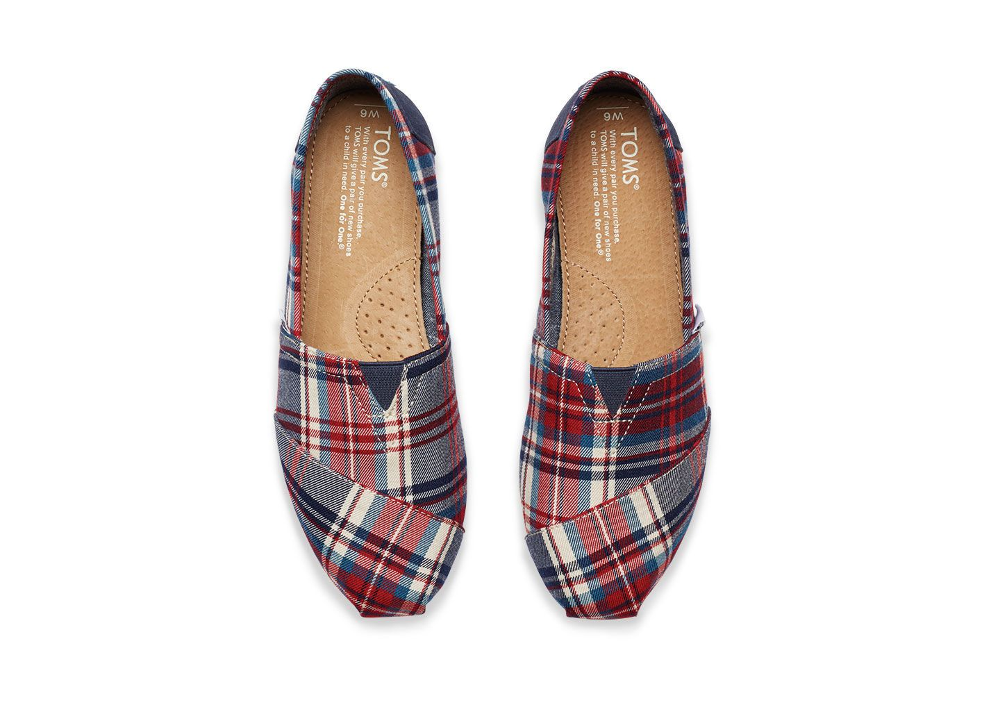 She'll be wearing these TOMS women's Red and Blue Plaid Classics all year  round