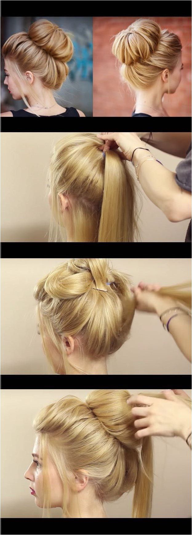 Quick and easy hairstyles for straight hair chic textured bun updo