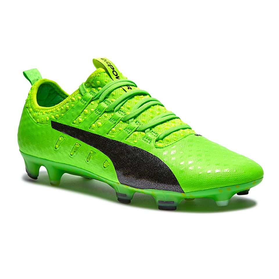 Puma evoPOWER Vigor 1 FG - Mens Soccer Cleats - Firm Ground - Green Gecko/Puma  Black/Safety Yellow