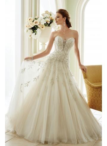 A-linie Herz-ausschnitt Romantische Brautkleider aus Tüll mit ...