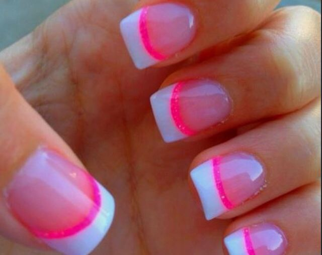 French manicure with hot pink and white tips nail art. def my style - Hot Pink And White French Tips Nails Pinterest Hot Pink