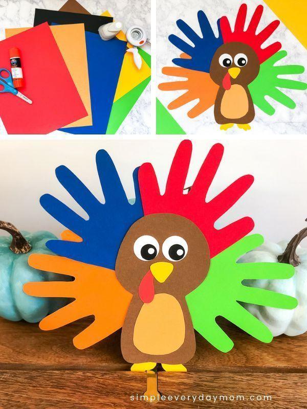 Ein bunter u. Netter Truthahn Handprint Fertigkeit für Kinder