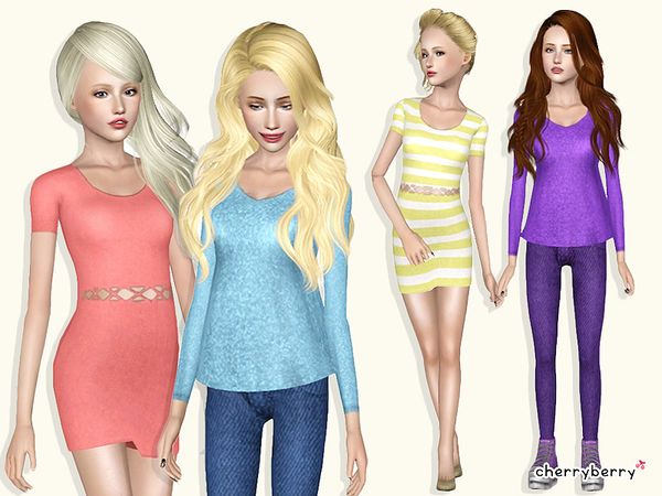 School clothing set by CherryBerrySim - Sims 3 Downloads CC