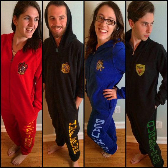 53f2cd6a3fe Hogwarts House Adult Onesie by FanFash on Etsy
