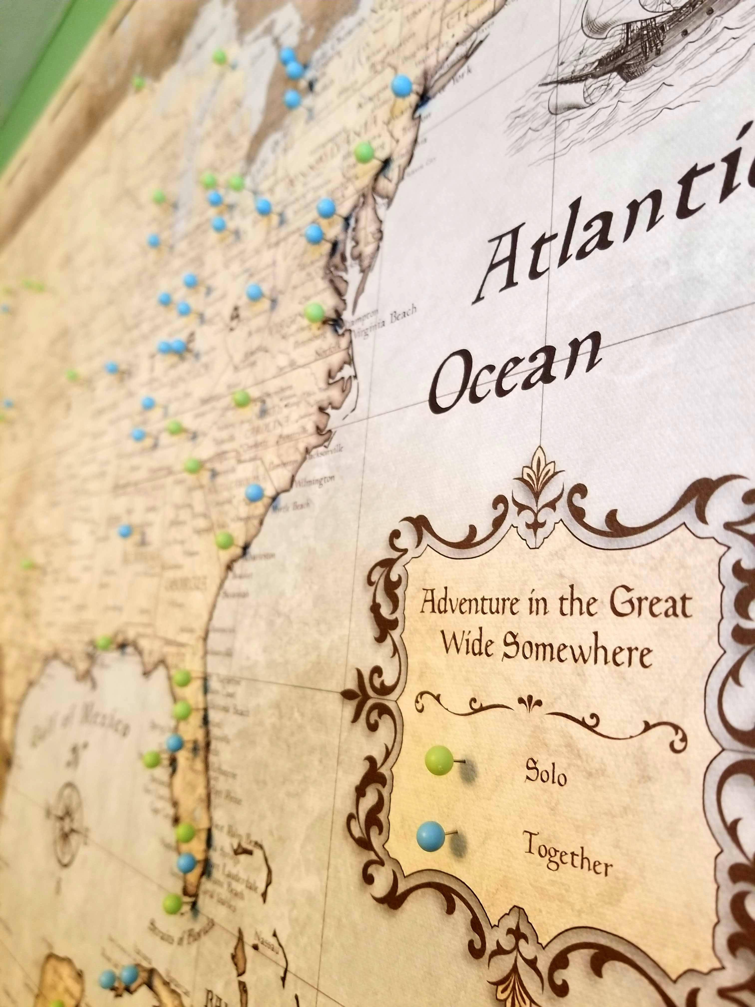 USA Travel Map Pin Board w/Push Pins - Rustic Vintage | Happy ...