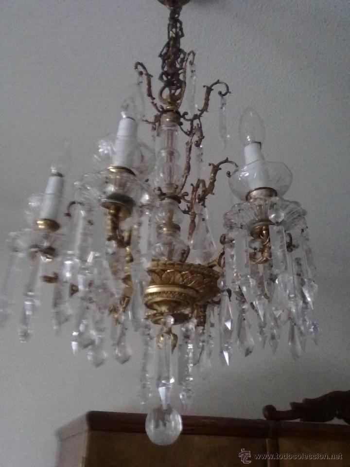 Antigua lampara de cristal y bronce luces pinterest - Venta de lamparas antiguas ...