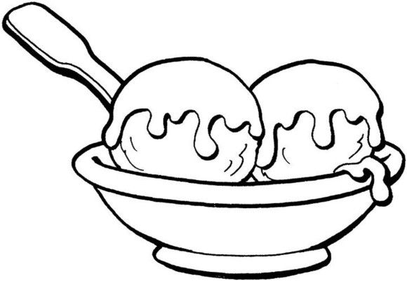 Coloring Ice Cream Sundae Two Ball Ice Cream Coloring Pages