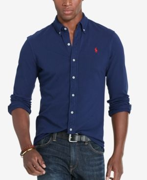 The fawn feather weight mesh shirt navy where RALPH LAUREN (Ralph Lauren) pony embroidery is button downed