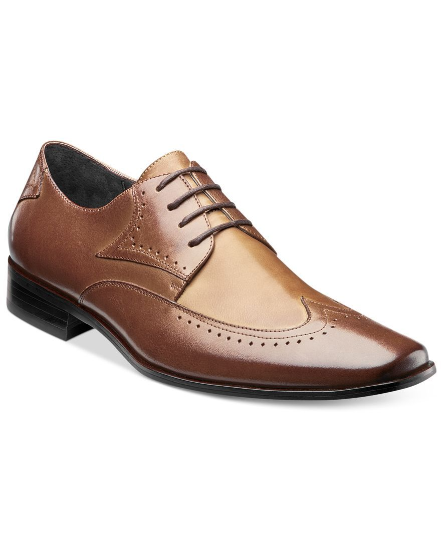 Stacy Adams Mens Black Garrison Leather Wing Tip Laceup Oxford Trendy Dress Shoe